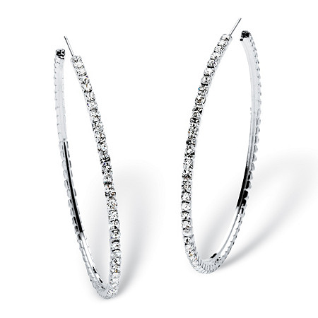 Round Crystal Silvertone Hoop Earrings 3 Diameter
