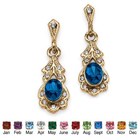 Oval-Cut Birthstone Drop Earrings in Antiqued Yellow Gold Tone