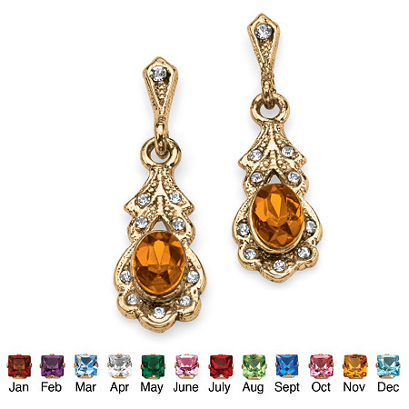 Oval Simulated Birthstone Drop Earrings in Antiqued Yellow Gold Tone