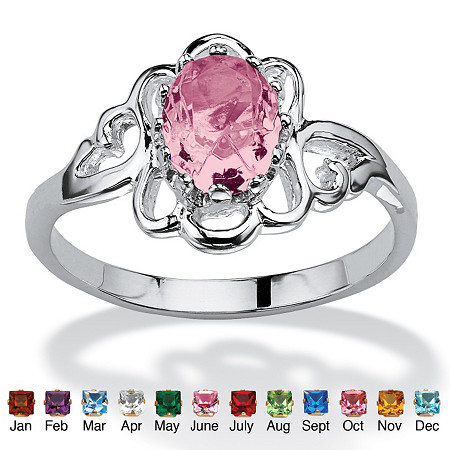Oval-Cut Simulated Birthstone Sterling Silver Ring