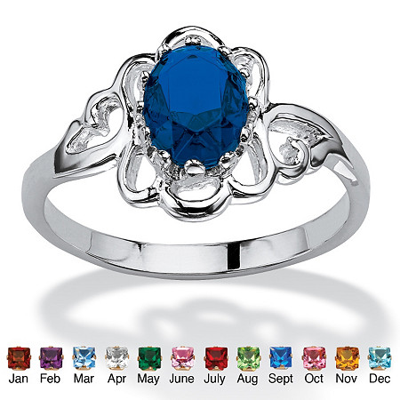 Oval-Cut Birthstone Ring in Sterling Silver