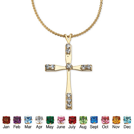Simulated Birthstone Cross Pendant and Necklace in Yellow Gold Tone 18