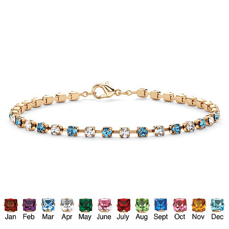 Birthstone Tennis Bracelet in Yellow Gold Tone