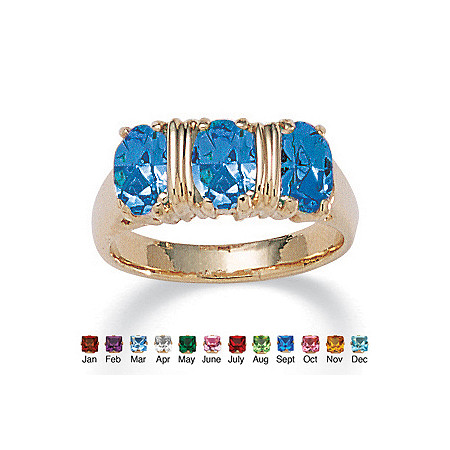 Oval Cut Simulated Birthstone 14k Yellow Gold-Plated 3-Stone Ring