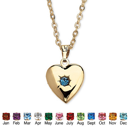 Birthstone Heart Locket Necklace in Yellow Gold Tone