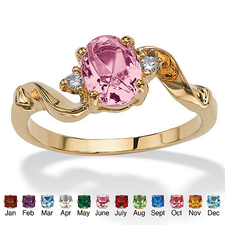Oval-Cut Birthstone Twist Ring in 14k Gold-Plated