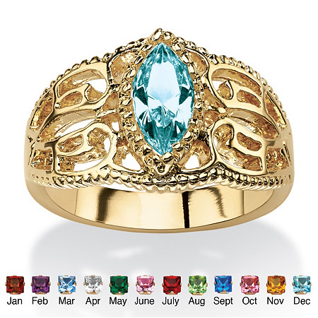 Marquise-Cut Simulated Birthstone 14k Yellow Gold-Plated Filigree Ring