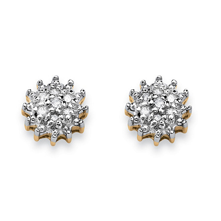 Diamond Accent 10k Yellow Gold Stud Cluster Earrings