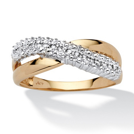Diamond Accent 10k Yellow Gold Crossover Wedding Band Ring