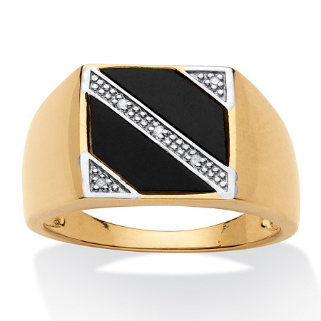 Men's Genuine Onyx with Diamond Accents 18k Yellow Gold Over Sterling Silver Diagonal Ring