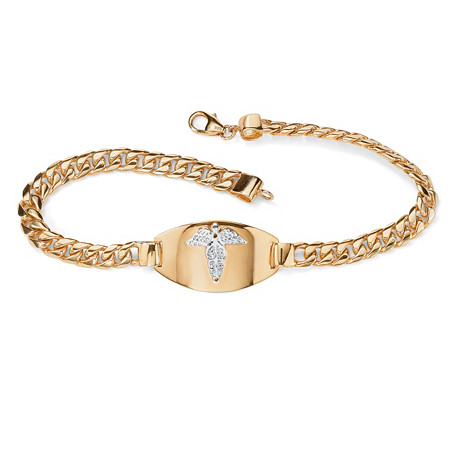 Men's Engraveable Medical Emergency I.D. Bracelet in 18k Gold over Sterling Silver