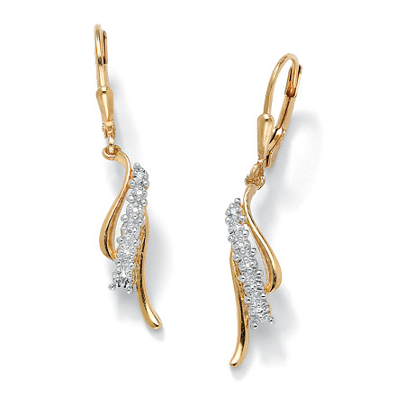 Diamond Accented Waterfall Drop Earrings in 18k Yellow Gold over Sterling Silver