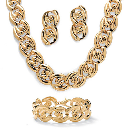 3 Piece Twisted Curb-Link Necklace, Bracelet and Drop Earrings Set in Yellow Gold Tone