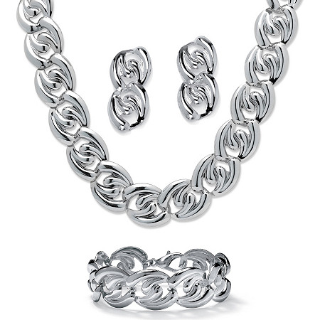 Silvertone Twisted Curb-Link Necklace, Bracelet and Drop Earrings Jewelry Set