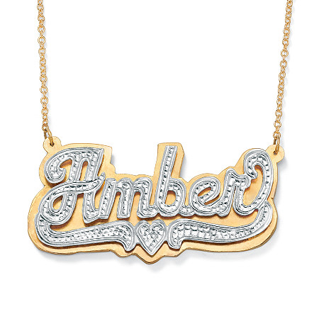 18k Yellow Gold over Sterling Silver Two-Tone Personalized Heart Nameplate Necklace 18