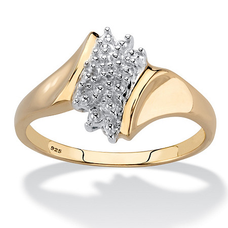 Round Pave Diamond Accent 18k Yellow Gold Over Sterling Silver Cluster Ring