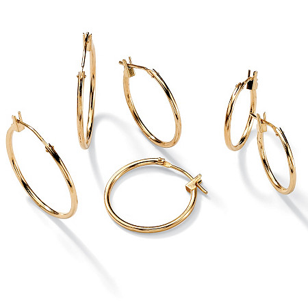 10k Yellow Gold 3-Pairs Hoop Earrings Set 5/8 to 7/8 Diameters