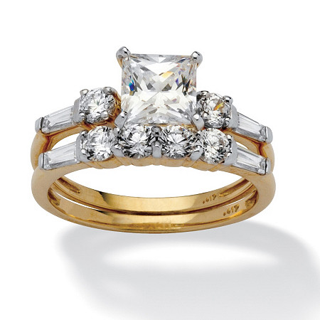 2.52 TCW Princess-Cut Cubic Zirconia 10k Yellow Gold Wedding Ring Set