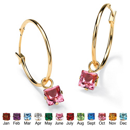 Princess-Cut Simulated Birthstone 10k Yellow Gold Charm Hoop Earrings