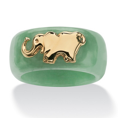 Round Green Jade 10k Yellow Gold Elephant Ring Band