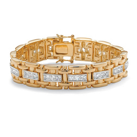 Men's 10.35 TCW Square Cubic Zirconia 14k Gold-Plated Link Bracelet 8 1/4
