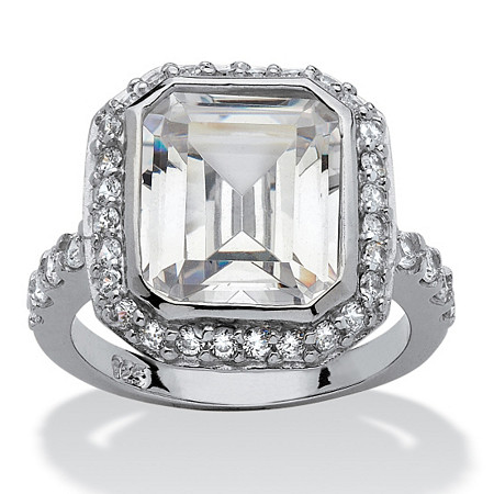 4.48 TCW Cushion Princess-Cut Bezel-Set Cubic Zirconia Platinum over Sterling Silver Ring