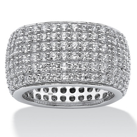 3.00 TCW Round Cubic Zirconia Sterling Silver Multi-Row of Pave-set Eternity Band