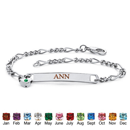 Simulated Birthstone Personalized I.D. Heart Charm Name Bracelet in Silvertone 7 1/4