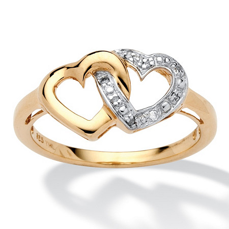 Diamond Accent Interlocking Heart Promise Ring in 18k Gold over Sterling Silver