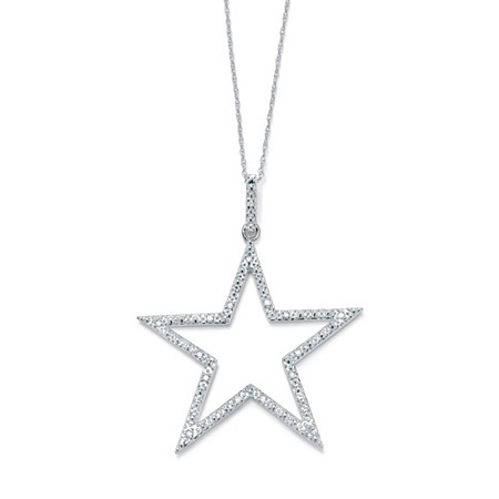 1/10 TCW Round Diamond Platinum over Sterling Silver Star-Shaped Pendant and Chain 18