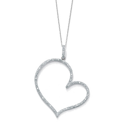 1/10 TCW Round Diamond Platinum over Sterling Silver Heart-Shaped Pendant and Rope Chain 18
