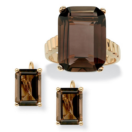 25.25 TCW Emerald-Cut Genuine Smoky Quartz 14k Gold-Plated Ring and Earrings Set