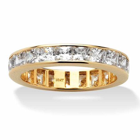 5.29 TCW Princess-Cut Channel-Set Cubic Zirconia 10k Yellow Gold Eternity Band Ring