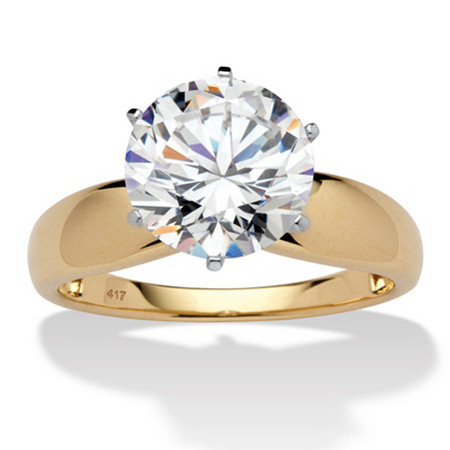 3.50 TCW Round Cubic Zirconia 10k Gold Solitaire Bridal Engagement Ring