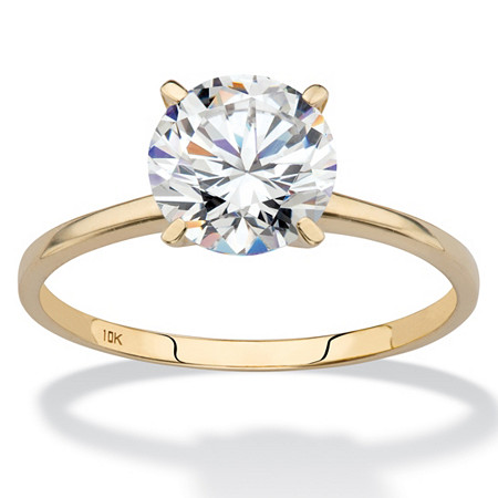 2 TCW Round Cubic Zirconia Solitaire Ring in 10k Gold