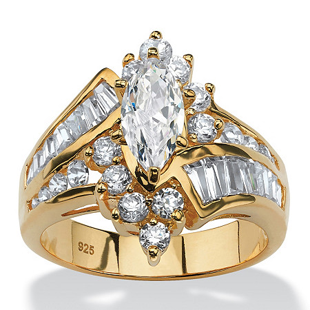 3.20 TCW Marquise-Cut and Baguette-Cut Cubic Zirconia 18k Gold over Sterling Silver Ring
