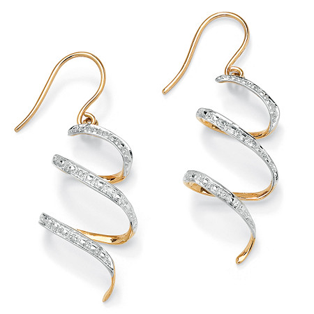 Diamond Accent 10k Yellow Gold 1 Ribbon Drop Earrings