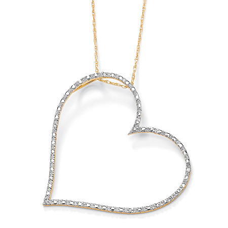 Diamond Accent 10k Yellow Gold Heart Pendant and Rope Chain 18