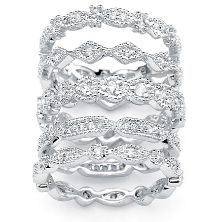 1.54 TCW Round Cubic Zirconia Silvertone 5-Piece Set Stackable Eternity Rings