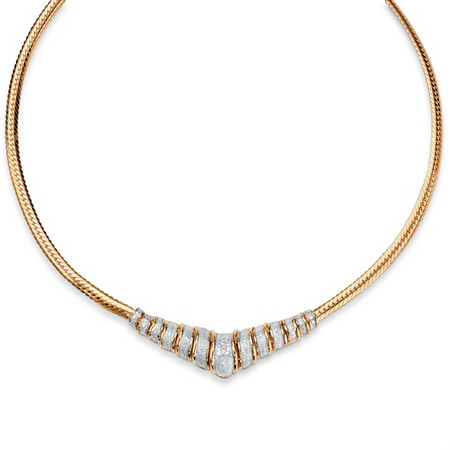 1/10 TCW Round Diamond 18k Yellow Gold over Sterling Silver Chevron Necklace 20