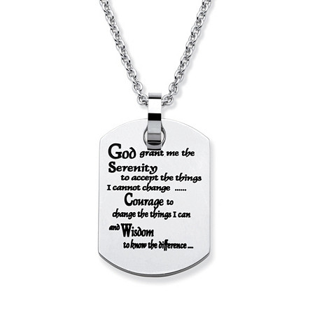 Stainless Steel Enamel-Finish Serenity Prayer Dog-Tag Pendant and Chain 18