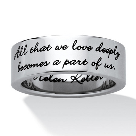 Stainless Steel Enamel-Finish Inspirational Helen Keller Message Band Ring