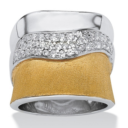 5/8 TCW Cubic Zirconia Pave 18k Yellow Gold over Sterling Silver Polished and Textured Ring