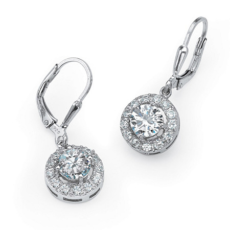 2.35 TCW Round Cubic Zirconia Halo Drop Earrings in Sterling Silver