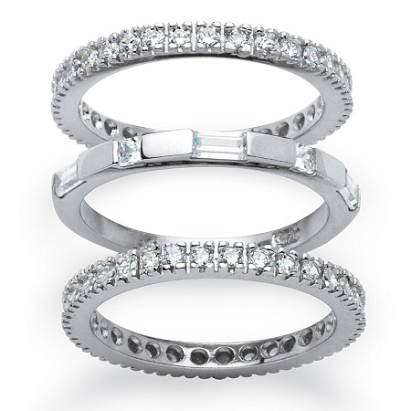 2.02 TCW Cubic Zirconia Platinum over Sterling Silver Set of Three Eternity Bands