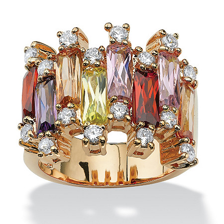 8.96 TCW Emerald-Cut Multi-Color Cubic Zirconia 14k Yellow Gold-Plated Ring