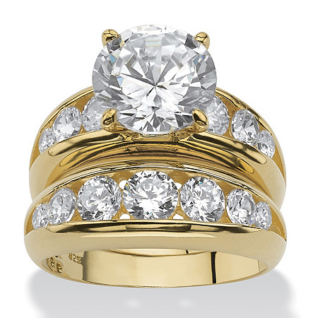 6.09 TCW Cubic Zirconia 18k Gold over Sterling Silver Bridal Engagement Wedding Band Set