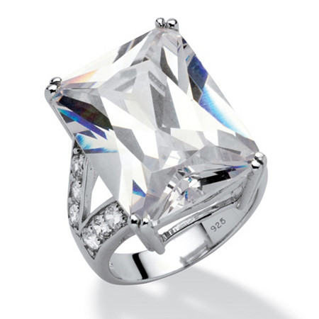 27.10 TCW Emerald-Cut Cubic Zirconia Engagement Anniversary Ring in Platinum over Sterling Silver