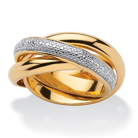Diamond Accent 18k Gold over Sterling Silver Rolling Ring