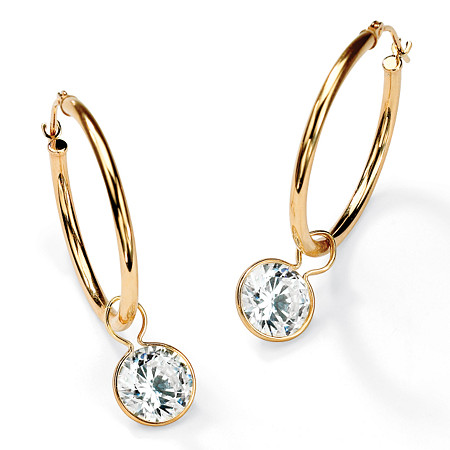 4.00 TCW Cubic Zirconia 10k Yellow Gold Bezel-Set Removable Charm Earrings